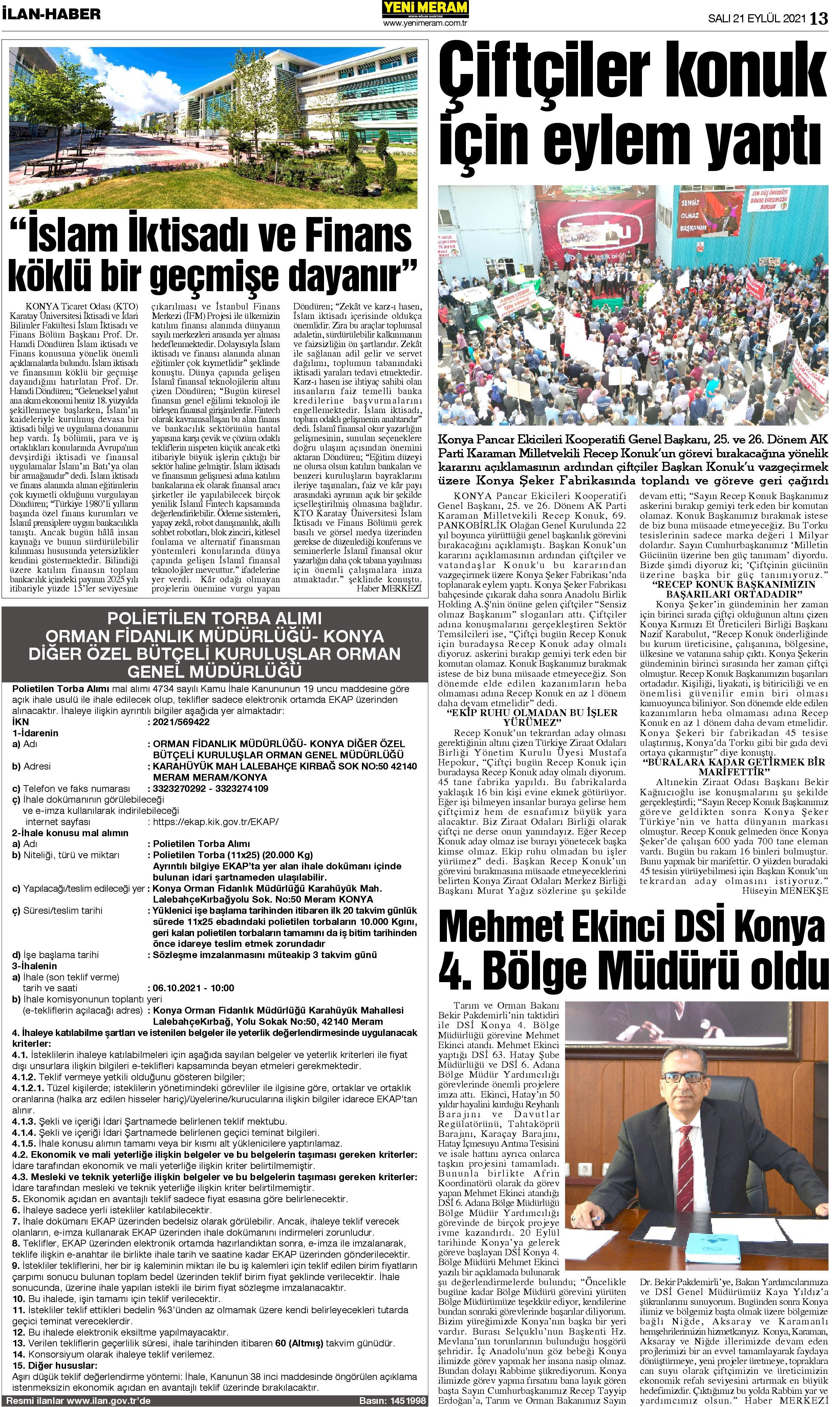 21 Eylül 2021 Yeni Meram Gazetesi