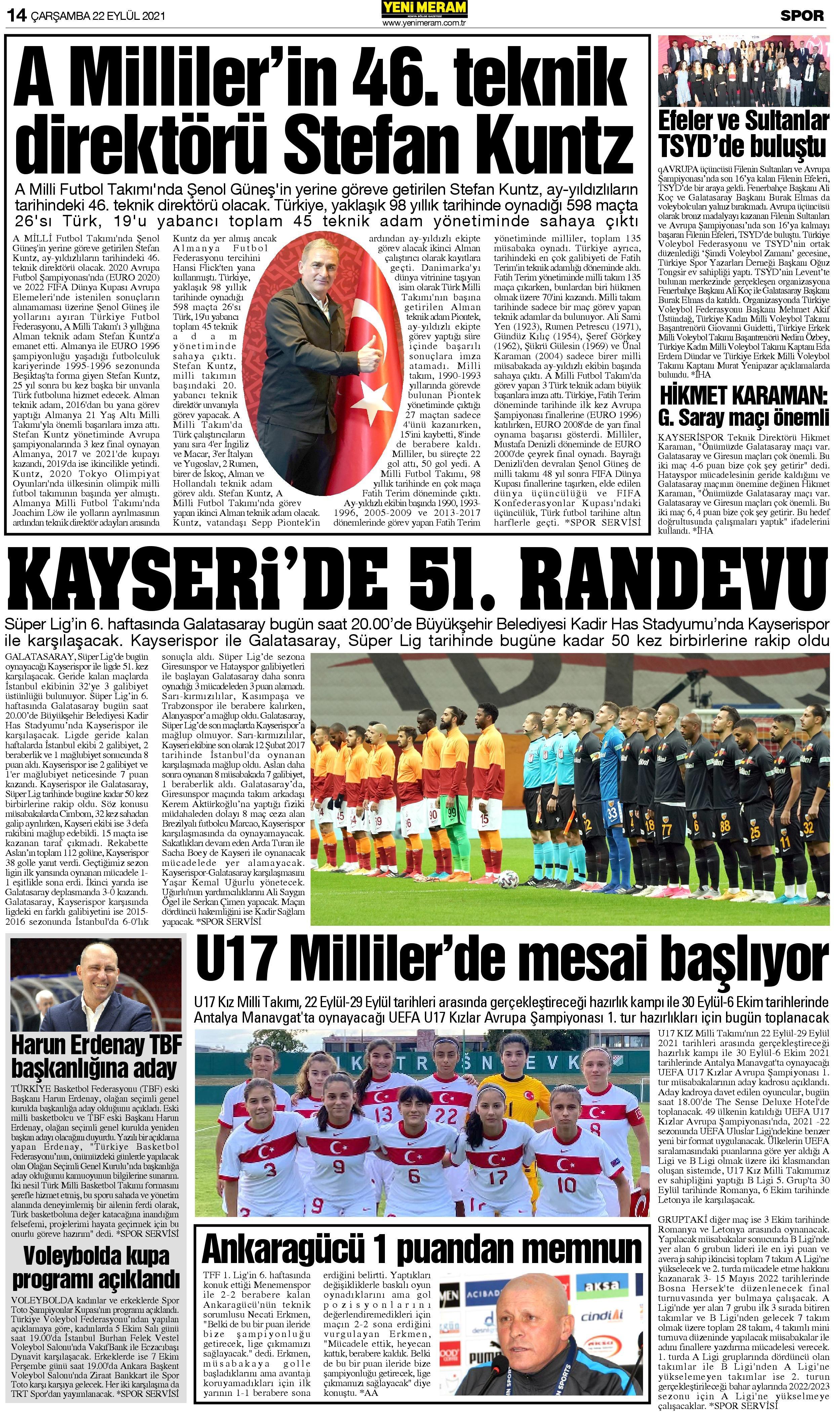 22 Eylül 2021 Yeni Meram Gazetesi