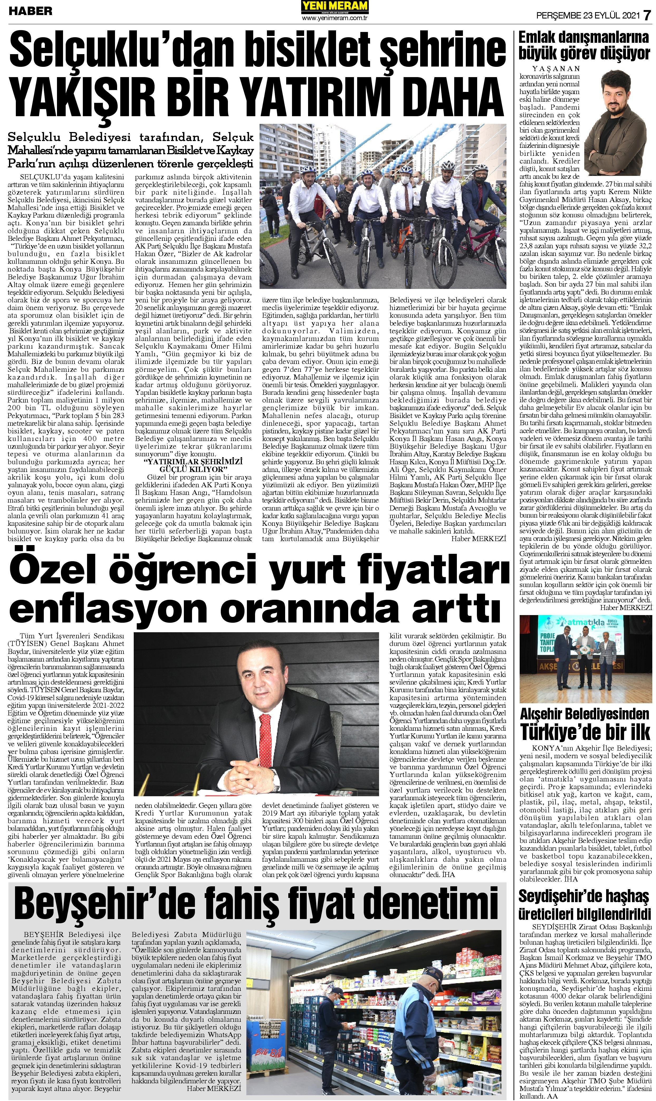 23 Eylül 2021 Yeni Meram Gazetesi