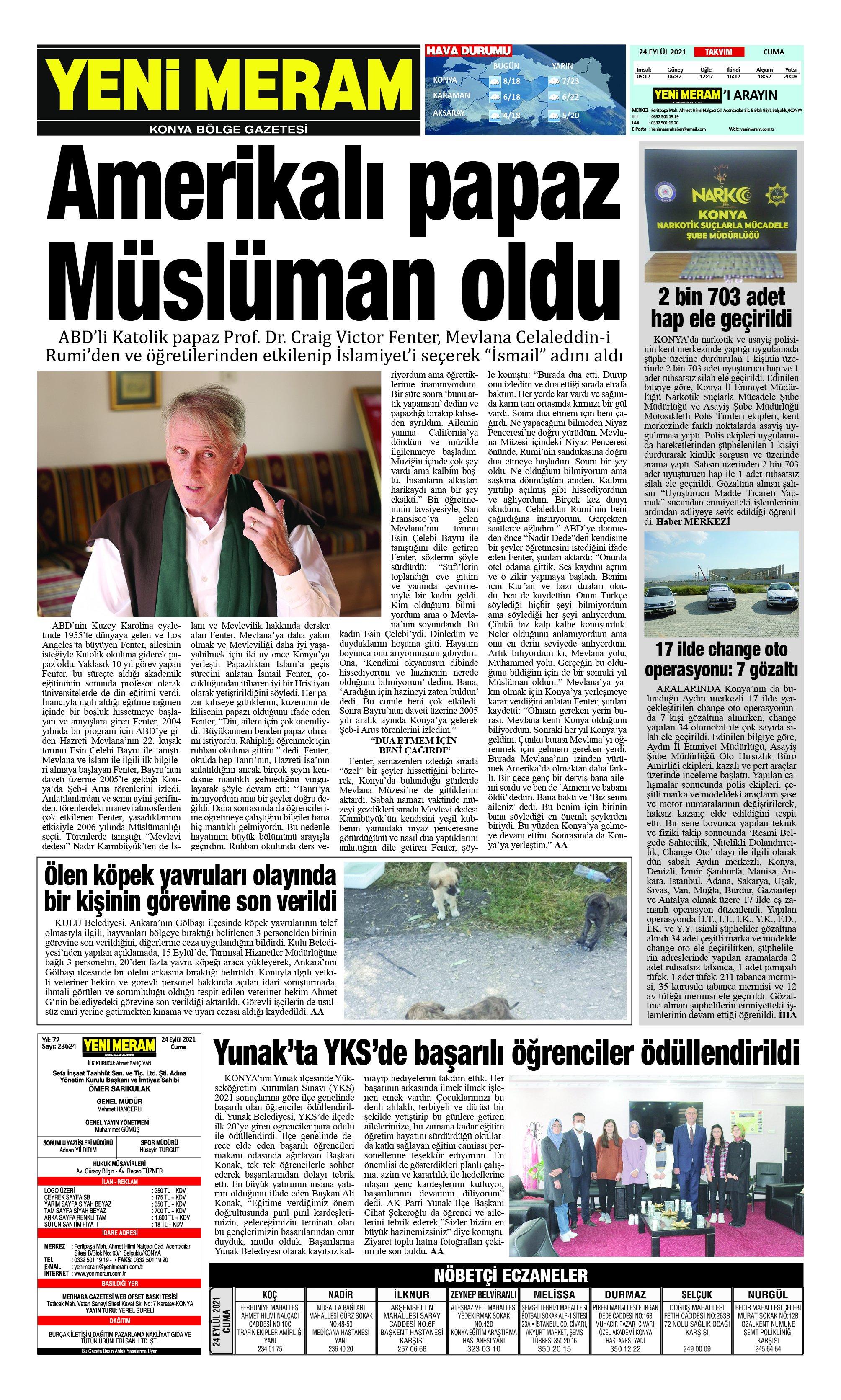 24 Eylül 2021 Yeni Meram Gazetesi