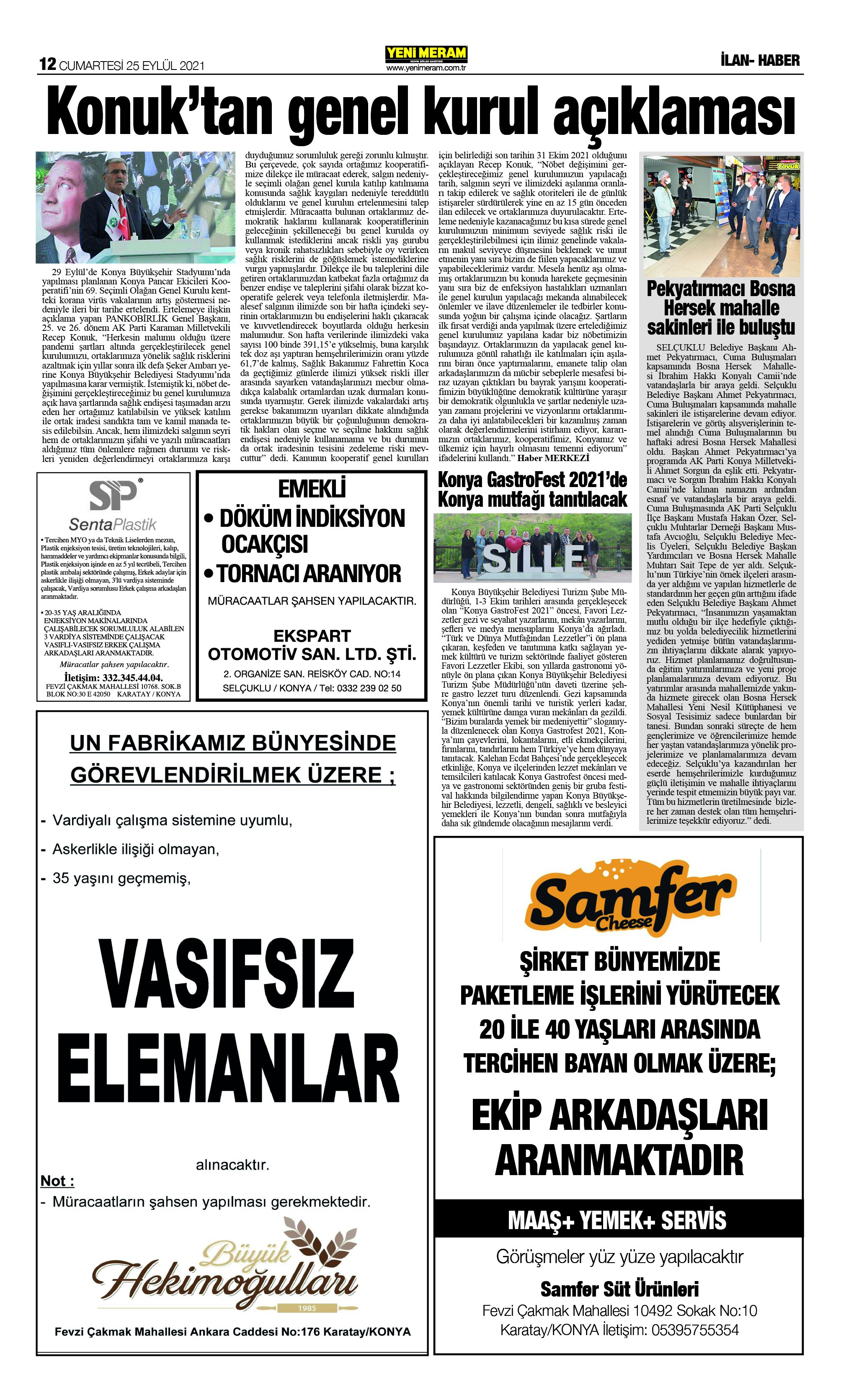 25 Eylül 2021 Yeni Meram Gazetesi