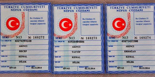 """""""Recep"""", """"Tayyip"""" ve """"Erdoğan"""" adlı üçüzler kimliğine kavuştu"""