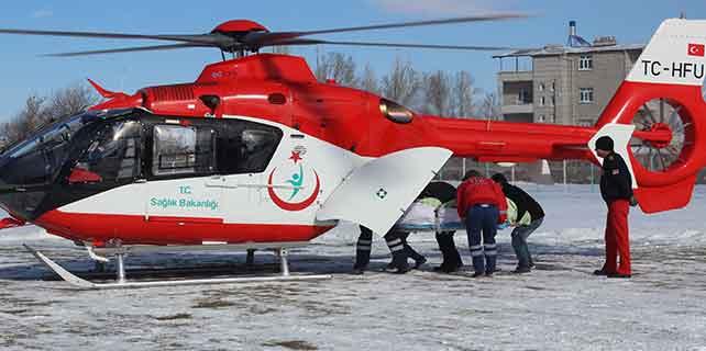 KOAH hastası ambulans helikopterle nakledildi
