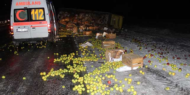 Konya'da elma yüklü kamyon devrildi: 1 ölü, 1 yaralı