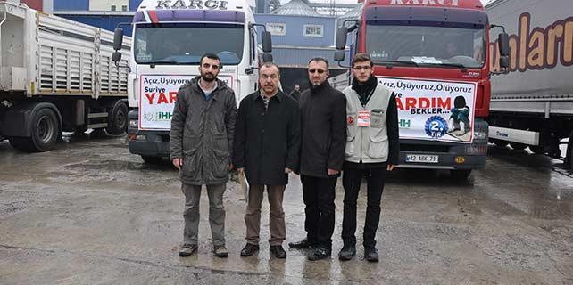 Konya'dan Suriye'ye iki tır un