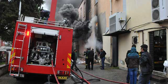Aydın'da sünger deposunda yangın
