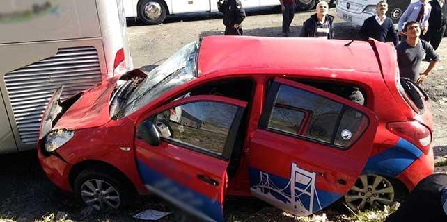 Direksiyon dersi kazayla sonuçlandı