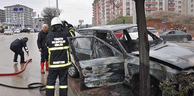 Kırıkkale'de seyir halindeki otomobil yandı