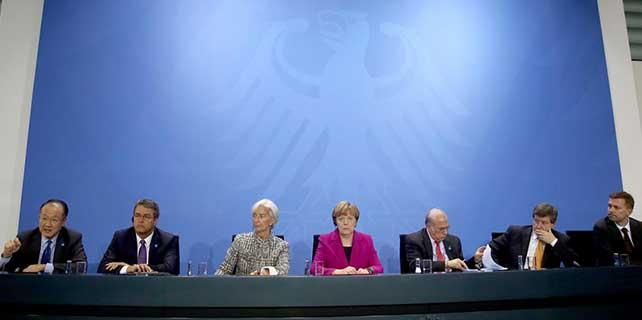 Merkel, finans kuruluşlarının başkanlarıyla bir araya geldi