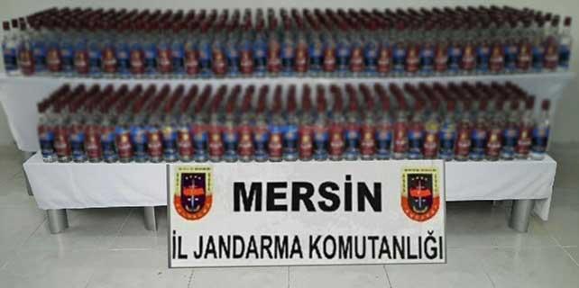 Mersin'de 600 şişe bandrolsüz içki ele geçirildi