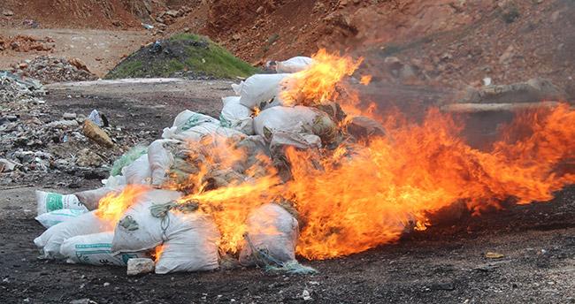 """Beyşehir Gölü'nden çıkarılan """"hayalet ağlar"""" yakıldı"""