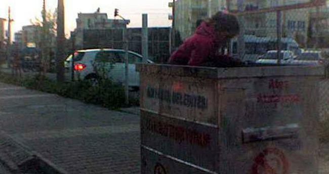 Küçük kızın çöp konteyneri içerisindeki hali yürek sızlattı