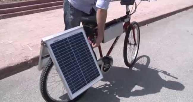 Güneş enerjisiyle çalışan bisiklet yaptı