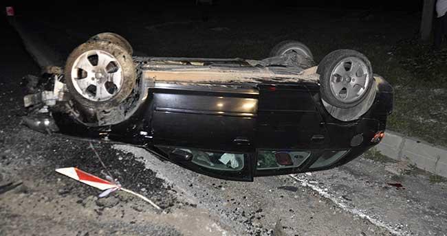 Otomobil şarampole takla yuvarlandı
