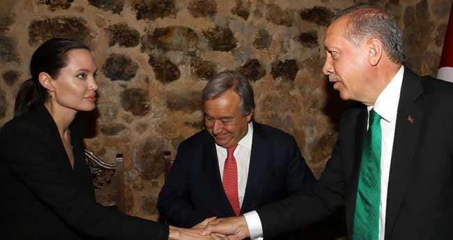 Cumhurbaşkanı Erdoğan Jolie ile görüştü