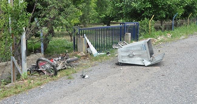 Konya'da motosiklet çöp konteynerine çarptı: 1 ölü