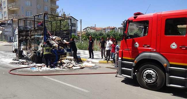Aksaray'da araç yangını