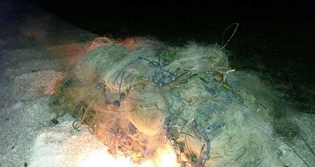 Baraj gölündeki yasak ağlar imha edildi