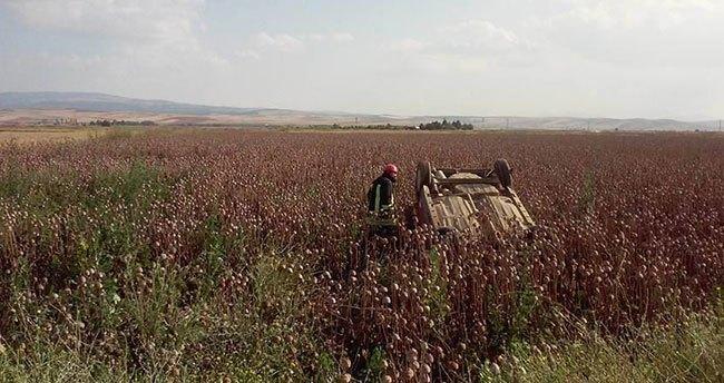 Konya'da Bir Otomobil Haşhaş Kapsülü Ekili Tarlaya Devrildi