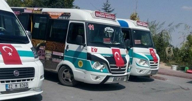 Konya minibüsçülerinden bayraklı tepki