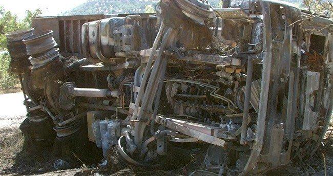 Konya'da Devrilip alev alan kamyonun sürücüsü öldü