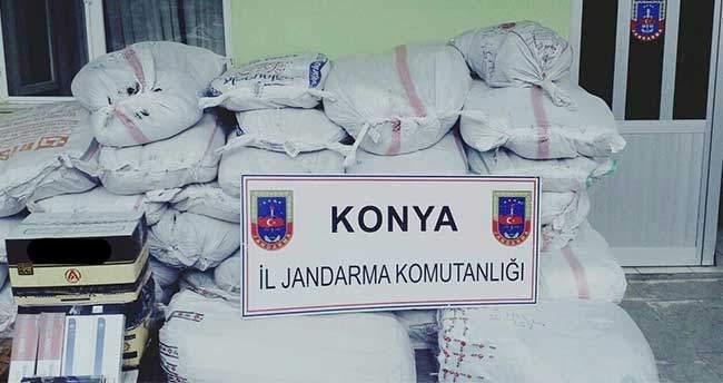Konya'da kaçak ürünlere jandarma engeli