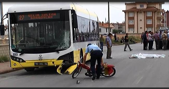 Konya'da Belediye Otobüsü Motosiklete Çarptı : 2 Ölü