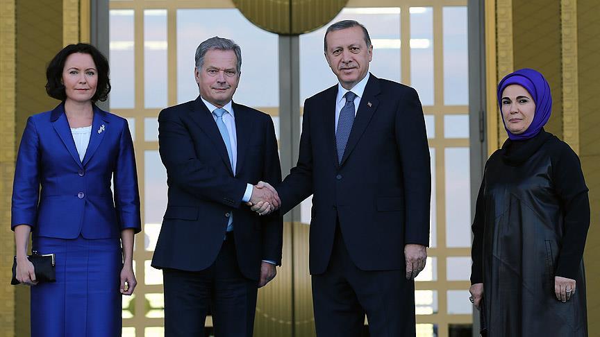 Erdoğan Finlandiya Cumhurbaşkanı Niinistö'yü resmi törenle karşıladı