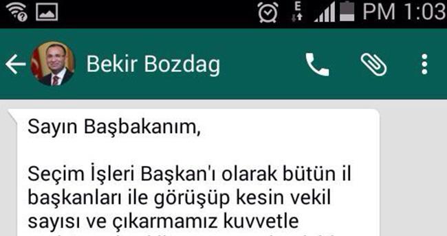 Bekir Bozdağın Başbakana attığı whatsapp mesajı