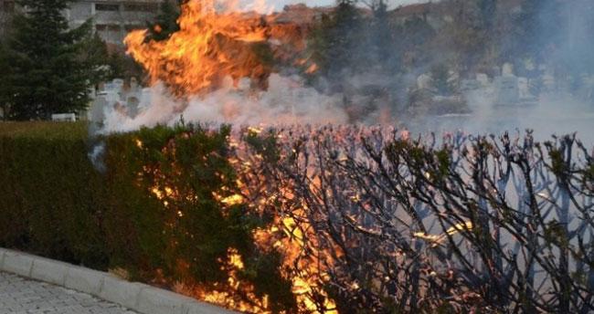 Kulu Mezarlığında Yangın