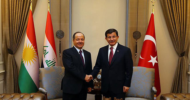 Başbakan Davutoğlu Barzani'yi kabul etti