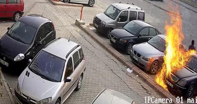 Konya'da araç kundaklama anı kameralarda!