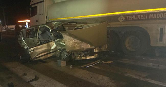 Konya'nın Ereğli ilçesinde Tanker ile otomobil çarpıştı: 1 yaralı