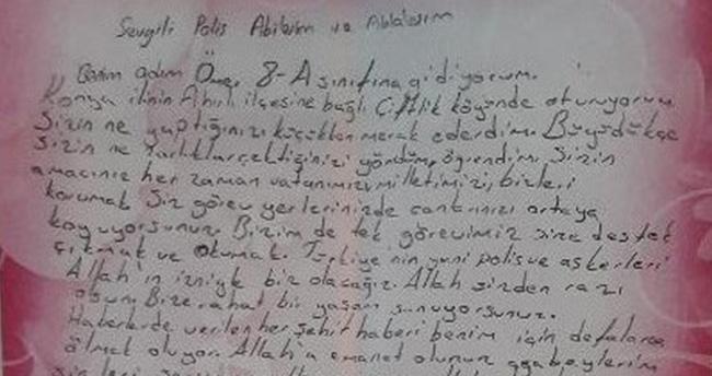 Konyalı öğrenciden Diyarbakır'da görev yapan polislere moral