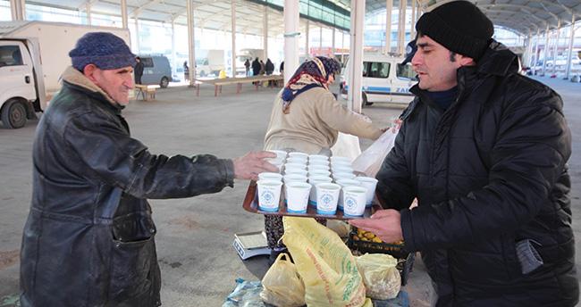 Beyşehir'de esnafa sıcak çorba ikramı