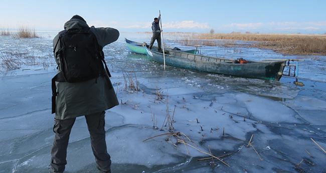 Buz üzerinde en güzel kareyi yakalama çabası