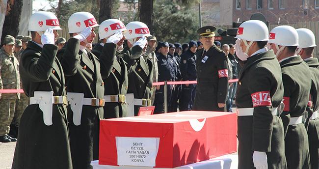 Şehit Yüzbaşı Fatih Yaşar'ın naaşı Konya'ya gönderildi