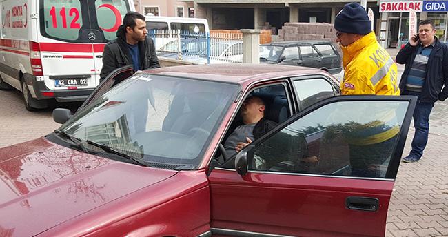 Konya'da aracında kalp krizi geçiren bir kişiye 112 yetişti