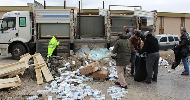 Konya'da cam yüklü kamyonda kaçak sigara sevkiyatı