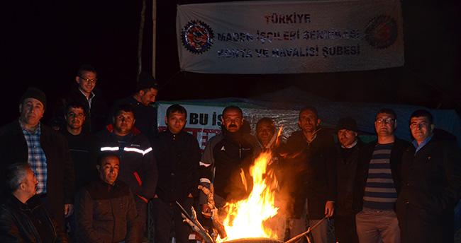 Konya'da maden işçilerinin eylemi sürüyor