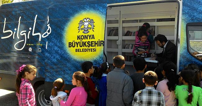 Konya Büyükşehir Belediyesinden mobil kütüphane hizmeti