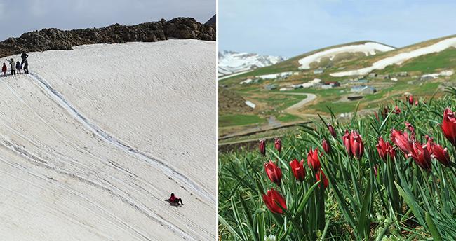 Konya'da iki mevsim bir arada yaşanıyor