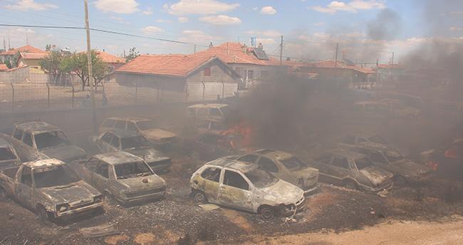 Konya'da otoparkta 70 araç yandı
