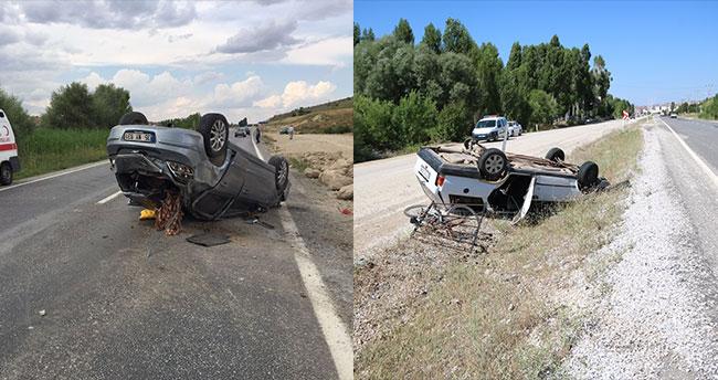 Beyşehir'de otomobiller devrildi: 2 yaralı