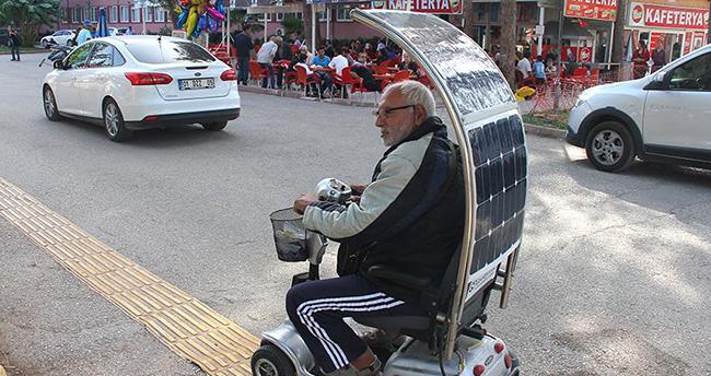 Güneş enerjili engelli aracı yaptı