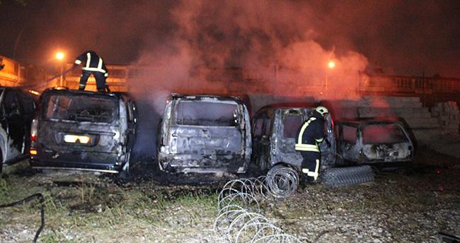 Konya'da yediemin otoparkında yangın