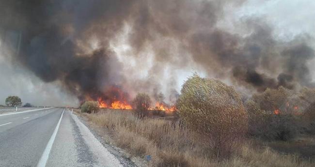 Beyşehir Gölü Milli Parkı'nda sazlık yangını