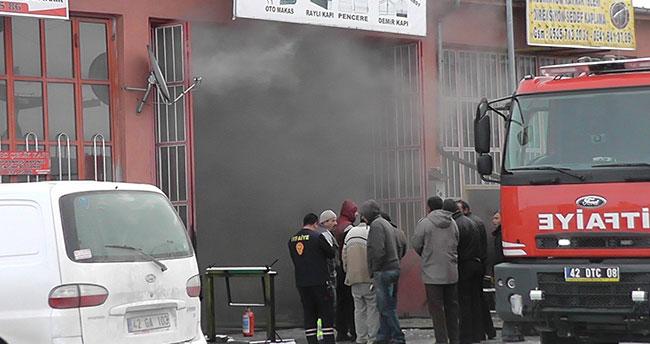 Konya'da iş yeri yangını