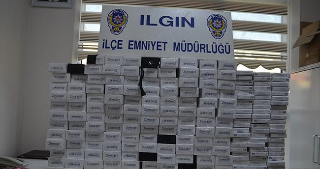 Konya'da mısır yüklü tırda kaçak sigara bulundu