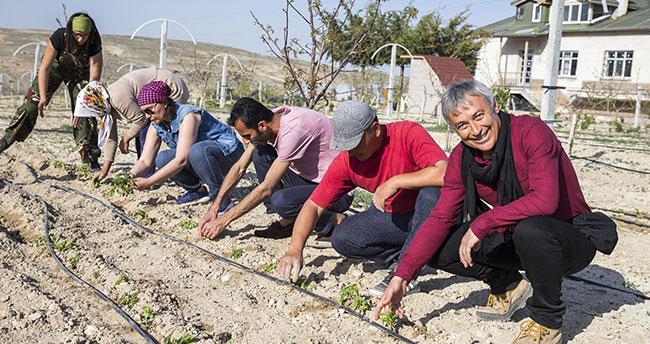 Bozkır'ın ortasına organik çiftlik kurdu